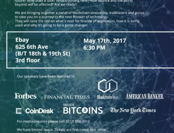 Upcoming Event: May 17th, Future of Blockchain Tech [Applications in Finance and Beyond]