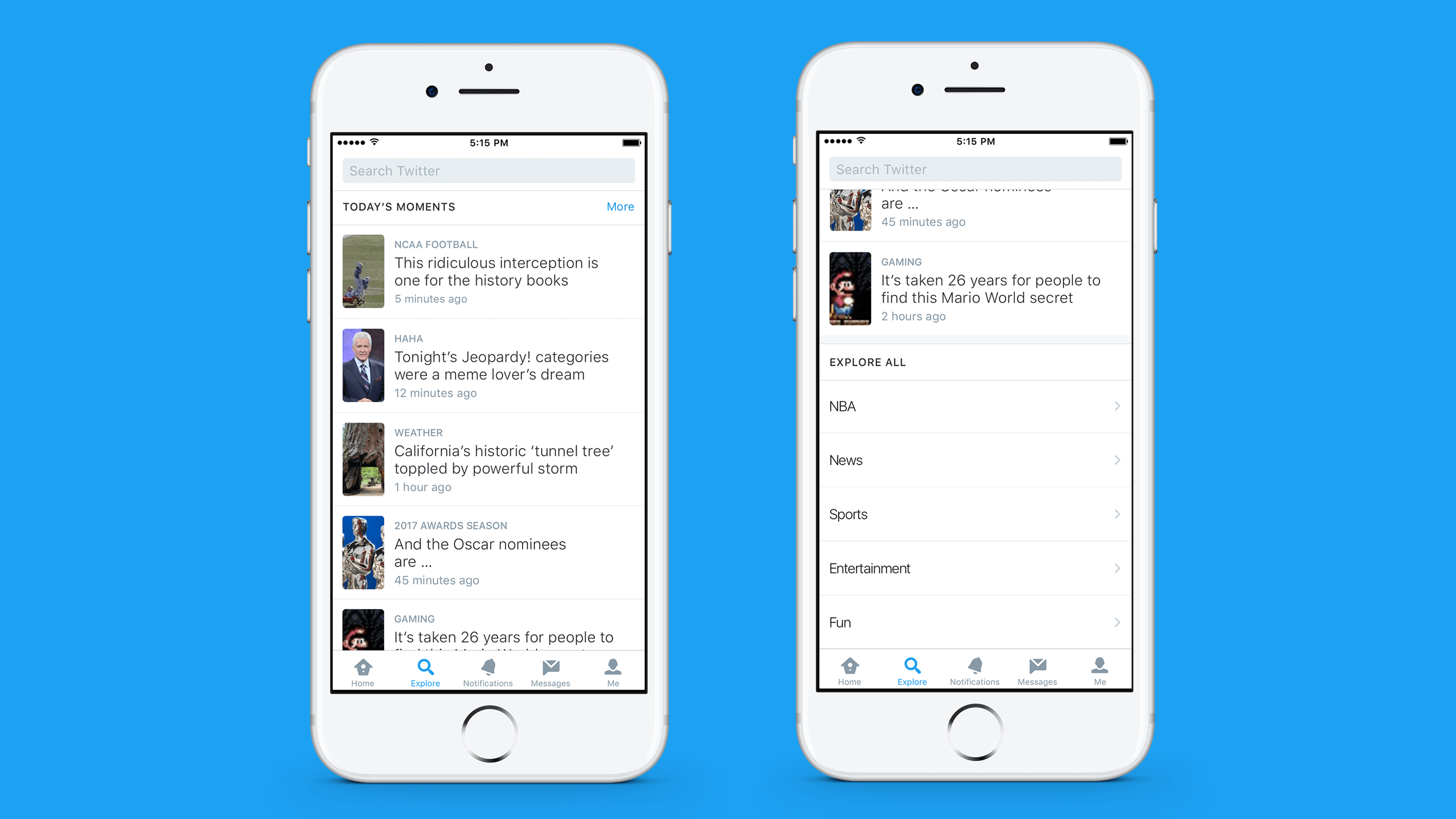 twitter explore moments search function